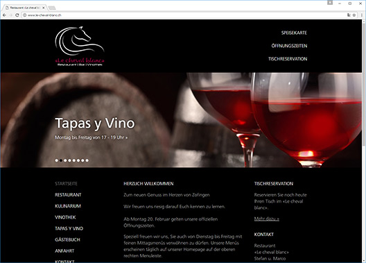 Screenshot der neuen Webseite des Restaurants «Le cheval blanc» in Zofingen