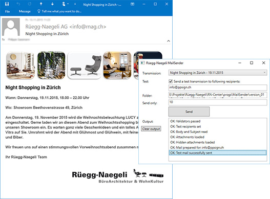 Screenshots der Mail-Sender-Applikation und des responsive HTML-Mail-Templates